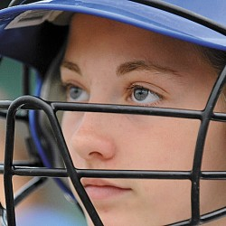 Hermon's Alessa Oakes waits for her turn to bat during a Little League all-star softball game last week in Hermon. Oakes and teammate Karli Theberge have used their identical pitching skills to put their team in title contention when the state Little League softball tourney opens Saturday.