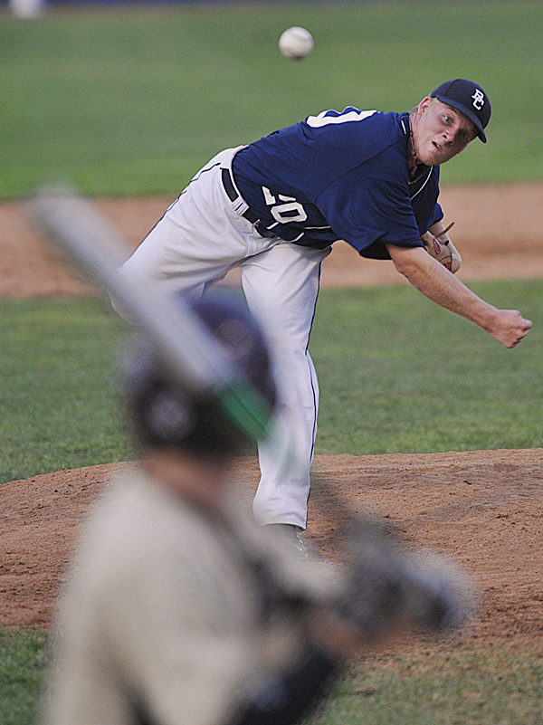 Bangor Comrades'  Jesse Wood pitches to Brewer Falcons' Pat McEwen in the first inning of their American Legion baseball game at Mansfield Stadium in Bangor Tuesday evening, July 12, 2011.