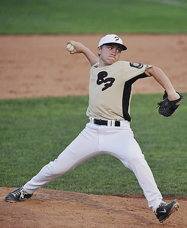 Brewer's Kyle Alexander pitches to the Bangor Comrades in the first inning of their American Legion baseball game at Mansfield Stadium in Bangor Tuesday evening, July 12, 2011.