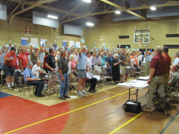 Newport residents at a special town meeting Wednesday evening voted overwhelmingly against purchasing a parcel of land at 13 Grogan Ave. which could have been used for the construction of a new public works garage. The approximately 225 residents also rejected a proposal to buy land on Moosehead Trail for a public recreation area.