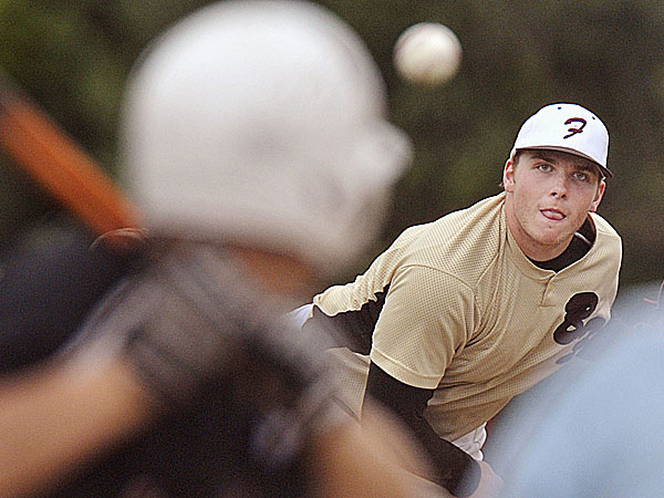 Brewer pitcher Kyle McLain delivers a pitch to Morrill Post's Thomas Salamone (5) in the eighth inning of their state Legion playoff game in Augusta Friday. McLain  pitched a complete-game six-hitter to help Brewer win 8-3.