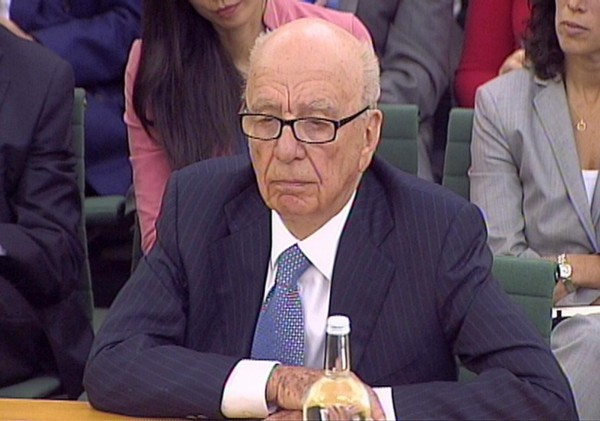 Rupert Murdoch, gives evidence to the Culture, Media and Sport Select Committee on the News of the World phone-hacking scandal in this image taken from TV in Portcullis House in central London Tuesday July 19 2011.