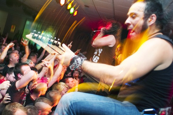 """Unearth guitarist Ken Susi plays during the band's set at Club Texas in Auburn Tuesday night. """"It defines the band when you play smaller shows,"""" Unearth vocalist Trevor Phipps said. """"It shows their real energy."""""""