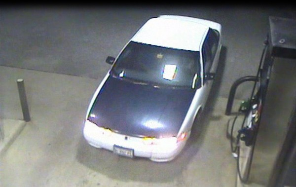Photographs taken from security camera video show the young couple police say tried to rob a Swanville gas station last week. The car appears to be a mid-1990s Oldsmobile Cutlass Ciera with a white body and a blue hood.