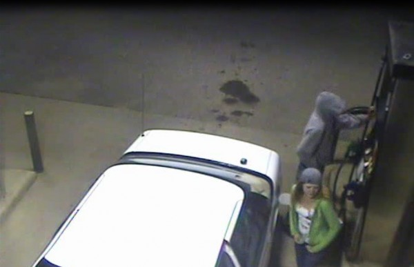Photographs taken from security camera video show the young couple police say tried to rob a Swanville gas station last week.