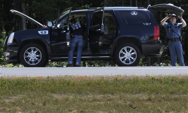 Traffic was slowed to a trickle about a mile of south of the Coldbrook Road exit on I-95 northbound in Hampden as state troopers searched a black Cadillac Escalade early Monday afternoon, July 25, 2011.