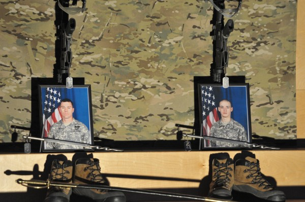 A close-up of the memorial altar for 1st Sgt. Kenneth Elwell, Bucks County, Pa. and Pfc Tyler Springmann, of Hartland, July 20, FOB Zangabad, Afghan