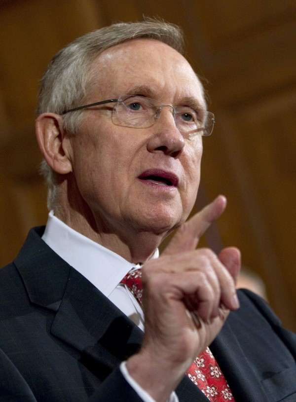 Senate Majority Leader Sen. Harry Reid, D-Nev., speaks during a news conference on debt ceiling legislation on Capitol Hill on Saturday, July 30, 2011, in Washington.