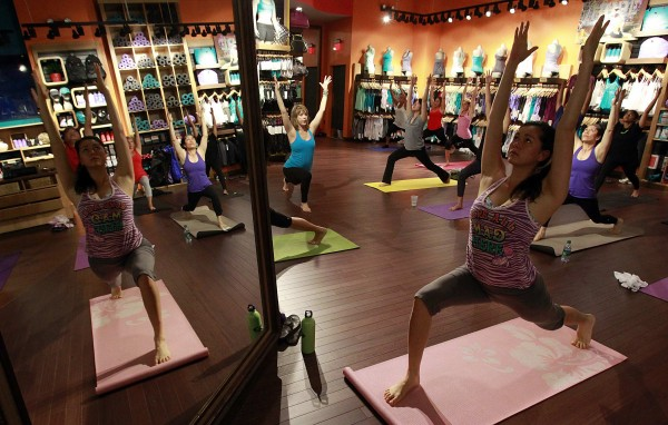 Lululemon is the hottest name in the women's active wear sector these days. The chain recently opened a store in South Coast Plaza in Costa Mesa, California and on Sunday mornings they move the clothing racks to the side and turn into a temporary yoga studio.