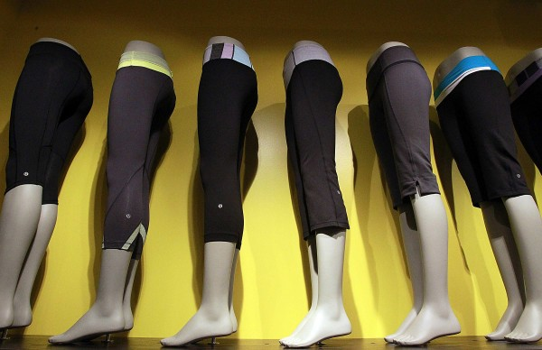 A line of sweatpants is displayed at Lululemon, which recently opened a store at the South Coast Plaza in Costa Mesa, California. The company is the hottest name in the women's active wear sector these days.