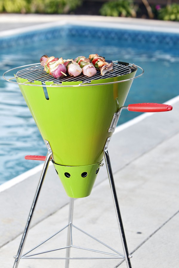 A new charcoal model is the Bodum Frykat Cone Grill. The funnel shape includes a traditional grill top with a removable battery-operated rotisserie.