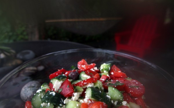 Backyard gardens should soon be awash in vine-ripe tomatoes and cucumbers -- perfectly matched ingredients for a chunky Greek salad.