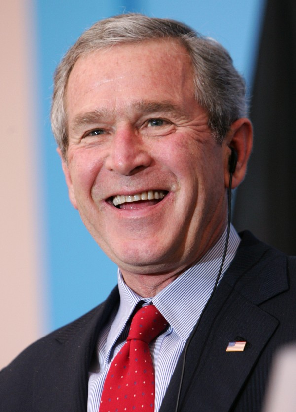 George W. Bush smiles in Germany in February 2005.