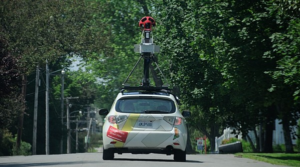 A Google Street View vehicle makes its way down Lincoln Street as it takes 360-degree images of Bangor early Tuesday afternoon.