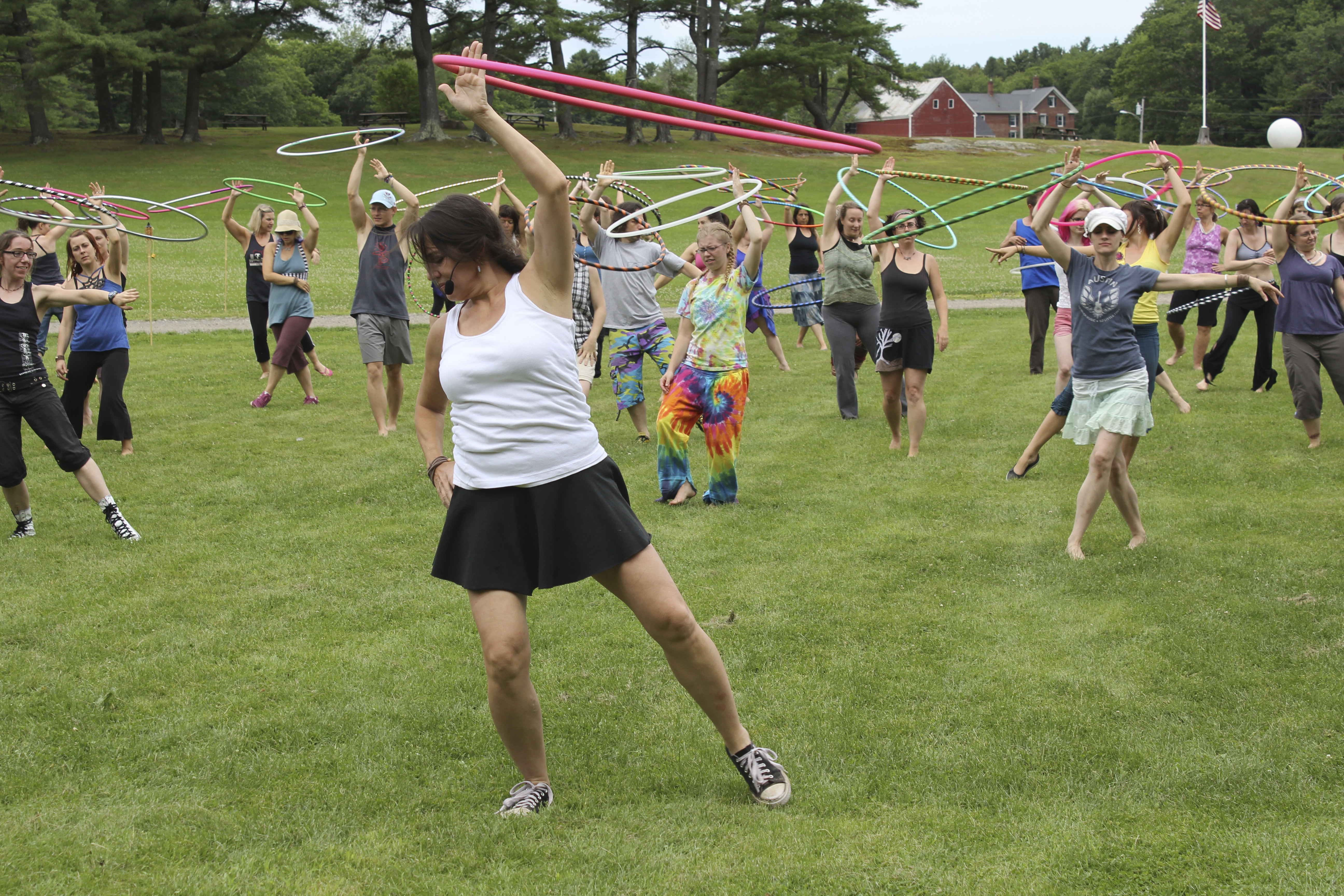 Carolyn Mabry, 48, of Raleigh, N.C., better known as Caroleena from her hooping tutorial videos on YouTube, leads a class Friday in Brunswick during HoopFest. The festival is the first of its kind in the nation, spurred by a national trend of hooping for fun and exercise.