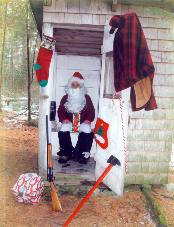 "My outhouse is so great that even Santa stops by once a year to drop off a ""gift.""
