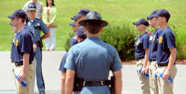 Paticipants of the 4th Junior Trooper Academy at the Criminal Justice Academy in Vassalboro line up in the front of the building before breaking for lunch Thursday, June 30, 2011.