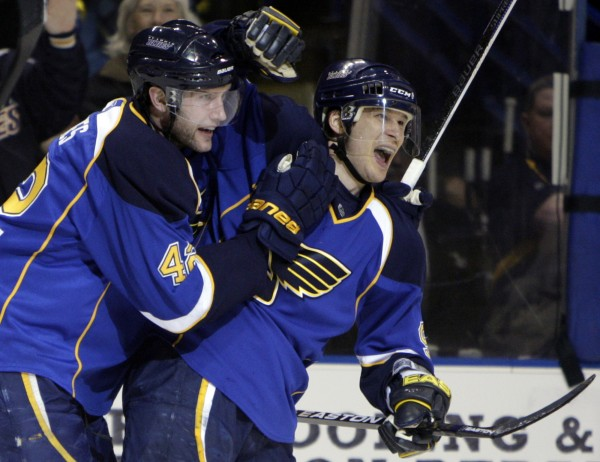 St. Louis Blues' Paul Kariya (right) is congratulated by teammate David Backes after scoring during the second period of an NHL hockey game against the Detroit Red Wing in St. Louis on Feb. 9, 2010. Kariya announced his retirement from the NHL on Wednesdayafter being unable to return from post-concussion symptoms that forced him to miss all of last season.