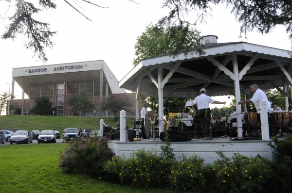 The Bangor Band assembled for Monday evening's Fourth of July performance at Paul Bunyan Park. Because of the coming arena construction, the band's final concert at the park took place Tuesday evening, July 5, 2011.