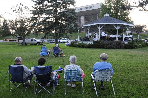 Music lovers showed up for the Bangor Band's final performance at the Paul Bunyan Park gazebo Tuesday evening, July 5, 2011. The site where the band played for many years is part of the footprint of Bangor's future arena.