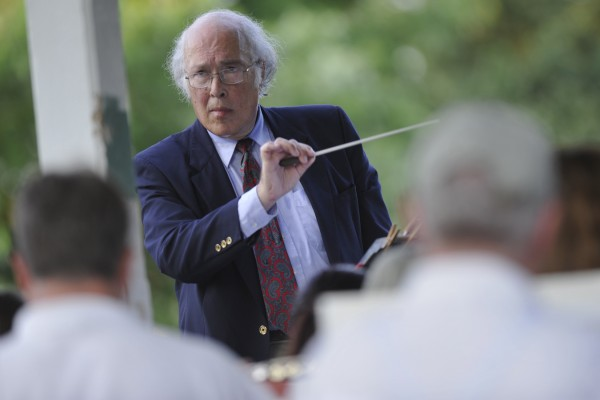 Dr. Fred Goldrich, conductor of the Bangor Band during the band's final performance at Paul Bunyan Park on Tuesday evening, July 5, 2011.