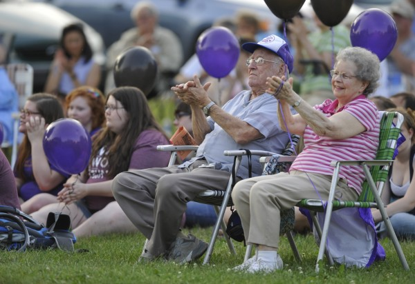 """Hundreds of music lovers, including Mary and Albert Martin of Old Town, showed up for the Bangor Band's final performance at the Paul Bunyan Park gazebo Tuesday evening, July 5, 2011. """"We've been coming for years and years,"""" said Mary Martin."""