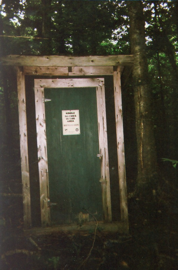 """I believe my outhouse should merit consideration because: It was built in 1947. It's a two-holer. No. One for the little guys, No. Two for the big-uns. The sign outside above the door says """"men,"""" but really it's a unisex two-holer. It was erected when our log cabin came in two parts by railway from Aroostook County. Outhouse No. 2 This outhouse was originally erected to be used as a pitstop for the snowmobile club in 1960. It is grandfathered and is being considered as a stop for ATV (4-wheeler) club on the trail to be cleared once again, soon. It has housed a lot of spiders and mice during hard winters."""