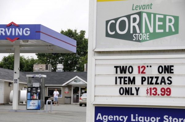 As police in central Maine were trying to determine his whereabouts, Paul Flynn, 50, of Albion tried to buy liquor at the Levant Corner Store (pictured) Tuesday morning, July 26, 2011. Shortly afterward, police stopped him in a red Suburu on the corner of Pine Tree Rd. and Fuller Rd. in Levant.