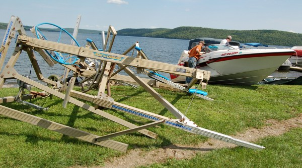 Gilberto Retaf, 27, of Madawaska and formerly of Connecticut, died Friday afternoon when his vehicle left Route 162 at Sinclair and struck this boat launch and boat before sinking in Long Lake. The cause of death is pending a medical examiner's report and the investigation continued Friday night.