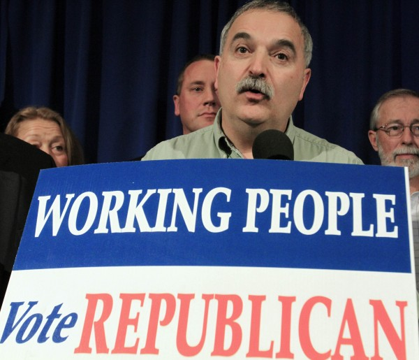 Charles Webster, chairman of the Maine Republican Party, attends a rally at the State House in Augusta, Maine, on Wednesday, Nov. 3, 2010.  Republicans celebrated their victories at the polls by winning the governorship and both houses of the Legislature. This is the first time in more than 50 years that the Republican party has gained control.