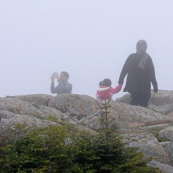 Ali Abdujabrar (second from left) of Massachusetts takes a photo of friend Aadil Ahmed (far left) of Connecticut as they join other friends and family atop Cadillac Mountain in Acadia National park on Saturday afternoon. They joined thousands of other out-of-state tourists visiting Bar Harbor and other Maine spots over Memorial Day weekend. This was their first visit to Maine, they said.