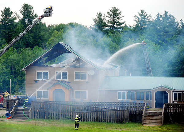 The Mt. Abram Family Resort in Greenwood suffered severe damage Wednesday after it was hit by lightning during a storm that swept the state.