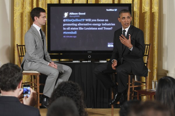 President Barack Obama sits with Twitter co-founder and Executive Chairman Jack Dorsey during a &quotTwitter Town Hall&quot in the East Room of the White House in Washington, Wednesday, July 6, 2011.