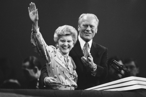 In this Tuesday, Aug. 21, 1984 file picture, former first lady Betty Ford waves to delegates at the Republican National Convention just before the former President Gerald Ford spoke in Dallas. Betty Ford, the former first lady whose triumph over drug and alcohol addiction became a beacon of hope for addicts and the inspiration for her Betty Ford Center, has died, a family friend said Friday, July 8, 2011. She was 93.