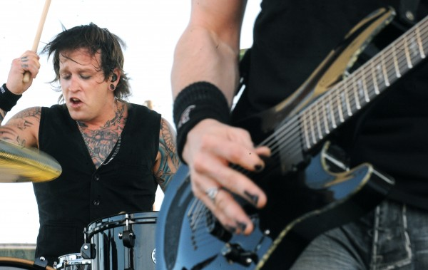 Members of Crossfade Mark Castillo on drums and Ed Sloan perform at Oxxfest on the Bangor Waterfront Sunday afternoon.