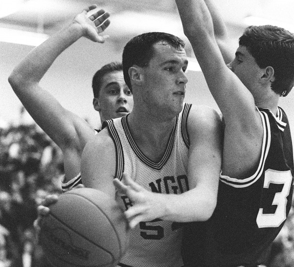 Paul Butler (center) playing basketball for the Bangor Rams in December 1988.