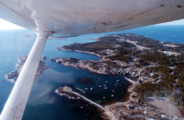 An aerial view of Matinicus Island seen from one of Penobscot Island Air's Cessna 206 planes in 2005.