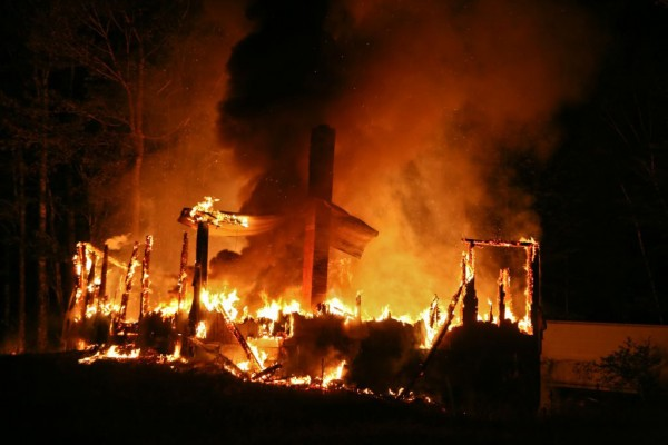 A fire destroyed a home on Pine Grove Road in Hudson on Tuesday.