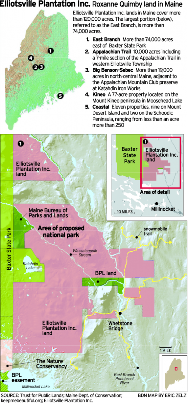 Click the image for a larger version of Roxanne Quimby's proposed national park.