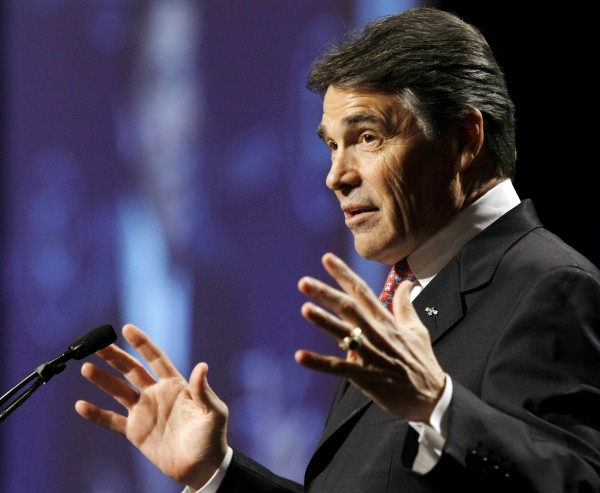 Texas Gov. Rick Perry speaks during the 28th annual National Association of Latino Elected and Appointed Officials conference in San Antonio on Thursday, June 23, 2011. Perry has phoned influential Republicans in early voting New Hampshire and Iowa in recent days as he weighs whether to enter the race for the GOP presidential nomination.