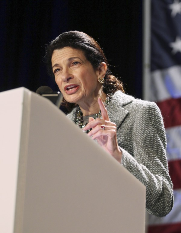 Sen. Olympia Snowe, R-Maine, speaks in Portland in May 2010.