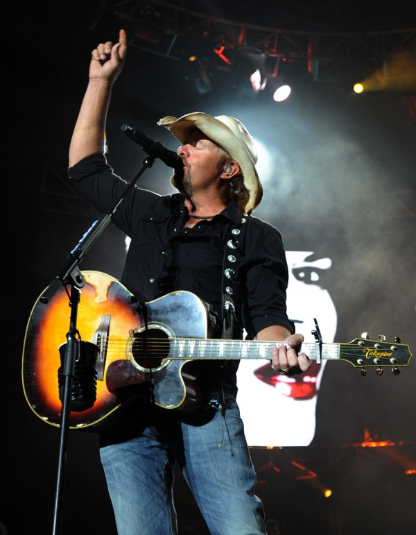 Toby Keith performs on stage at the Bangor Waterfront during a stop on his Locked and Loaded tour on Saturday, July 9, 2011.