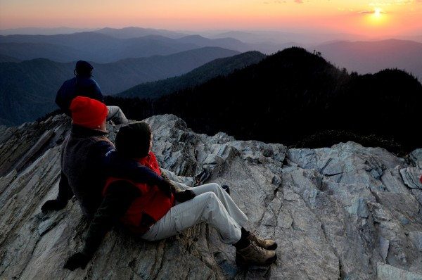 Jeffrey and Mary Shapiro, of Johnson City, Tennessee, share their first Cliff Tops sunset from Mt. LeConte in the Great Smoky Mountains National Park, April 22, 2009. Tourism was down in 2011, through June 30, at some of the country's most traditionally popular national parks.