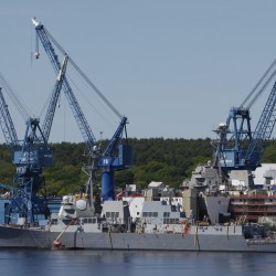 An Arleigh-Burke-class destroyer is worked on at Bath Iron Works, in Bath in May 2009.