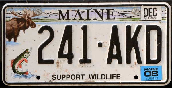 Support Wildlife Maine license plate.