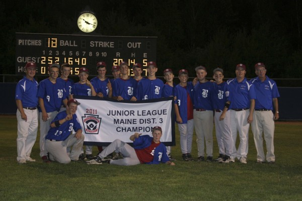 The Bangor Junior League All-Stars recently won the Maine State District 3 baseball championship, defeating Holbrook 20-6. The 13- and 14-year-old All Stars will advance to play in the Maine State Tournament on Thursday, July 28, at Mansfield Stadium in Bangor. Team members pictured are (front row, from left) Sam Huston and Andrew Hillier; (standing) coach Dennis Libbey, Jordan Derrah, Brian Pierce, Brennan Lane, Jon Stanhope, Matt Duff, Caleb Pineo, Alec Coleman, Justin Courtney, Nick Moore, Ben Crichton, Ryan Brookings, Kyle Stevenson, coach Todd Hillier and coach Jim Owens.