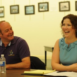 Representative Andre Cushing (left) and Representative Emily Cain laugh at a joke made by Cushing as they begin to answer questions during a public forum sponsored by the Bangor Daily News at the Bangor Public Library on Tuesday, July 5, 2011.