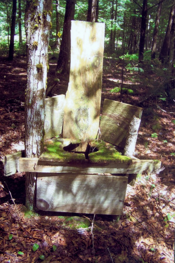 "Gerald Bilodeau of Belfast says ""my 'en plein air' throne is located on the banks of Pushaw Stream. The seat is padded with moss for soft and cool seating."""