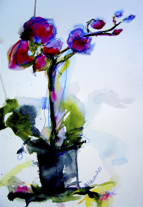 """A painting by Laurie Proctor, """"Standing Flower 2,"""" is part of an exhibit of two-dimensional works on display through Sept. 30 at Boyd Place Gallery, 21 Boyd St., Bangor. Also participating in the """"In Bloom"""" exhibit are local artists Valerie Aponik, Jane Blay, Helena Bosse, Jim Counihan, Evelyn Dunphy, Asha Fenn, Ken Graslie, Betsy Headley, Ed Healey, Faye Ivers, Jill Hoy, Anne Johnston, Karsten Kittelston, Hannah Kuhn, James Lagasse, Nancy Langlois, Holly Leighton, Wendy Libby, Petrea Noyes, James Pay, Melinda Perrier, Terri Sanzenbacher, Sarah Tabor, Marsha Townsend, William Ward and Becky Whight. For information, call 941-2837."""