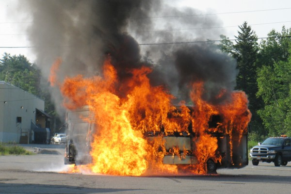 Tractor trailer driver Chris Quigg of Augusta made this photo of an Island Explorer bus burning this morning in Ellsworth.